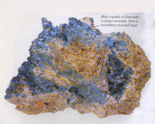 Blue crystals of liroconite, a copper arsenate, from a secondary-enriched layer