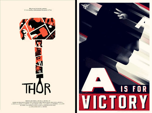 Posters de Cinema minimalistas - Olly Moss - Thor - A is for Victory