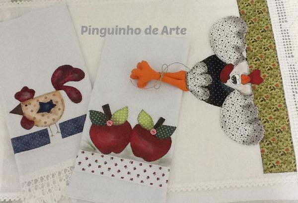 Pinguinho de Arte: Panos de copa com patch apliqué