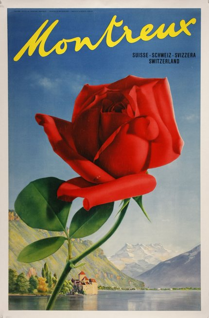 classic posters, free download, graphic design, national park, retro prints, travel, travel posters, vintage, vintage posters, Montreux, Suisse - Schwez - Svizzera, Switzerland - Vintage Switzerland Travel Poster