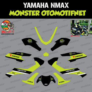 Sticker striping motor stiker Yamaha NMAX Monster Otomotifnet Hijau