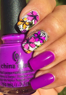 Purple Floral Nail Art