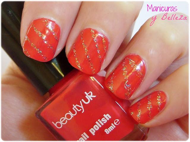 christmas nail art nails manicura navideña uñas navidad rojo rojas líneas glitter Essence freestyle and tip painter