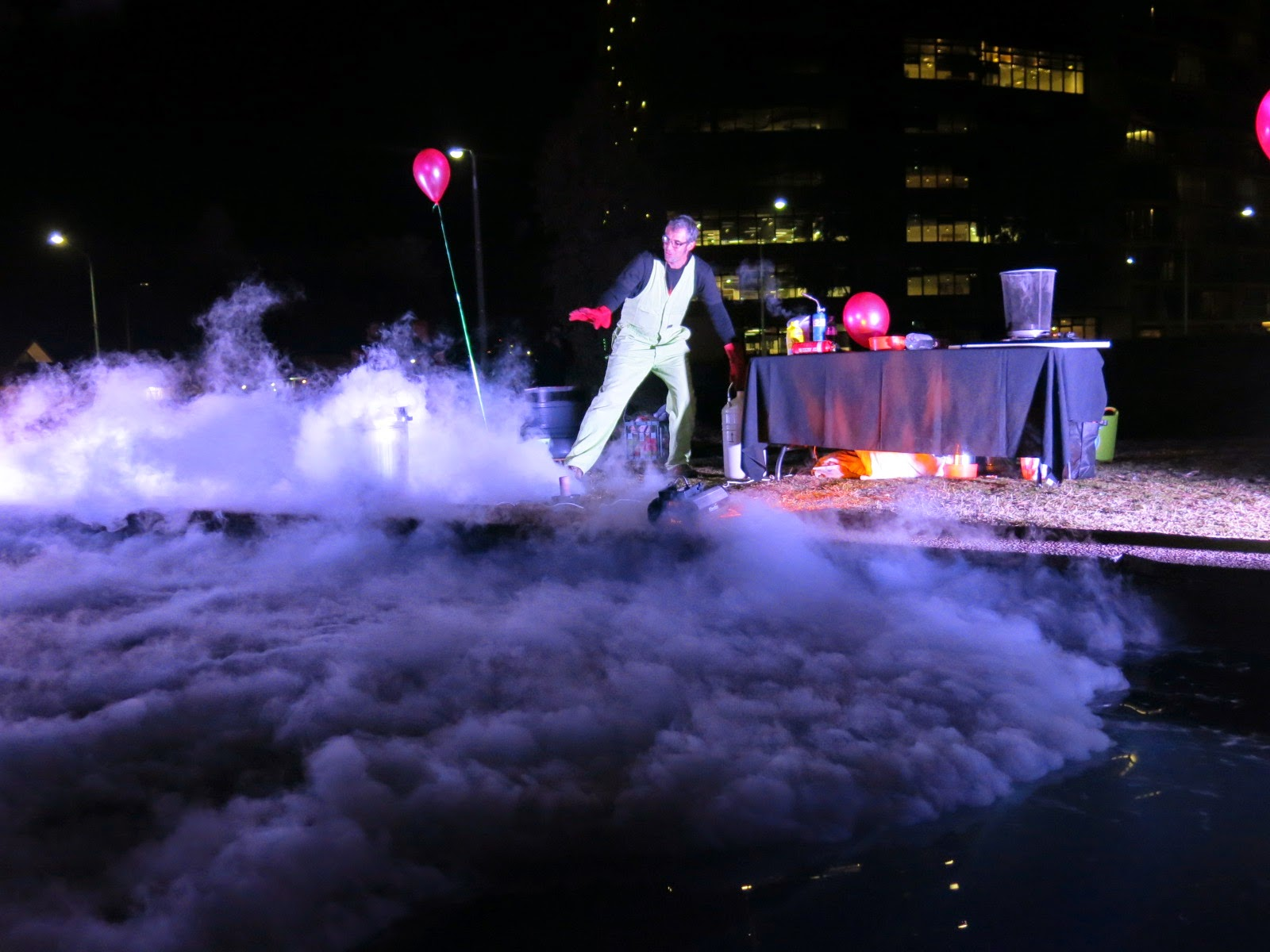 Liquid nitrogen being thrown into the Shine Dome moat