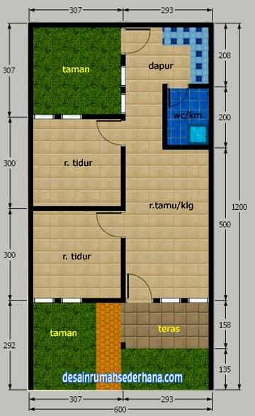 Desain Rumah Sederhana Minimalis Type 45 72 2 Kamar Tidur Desain