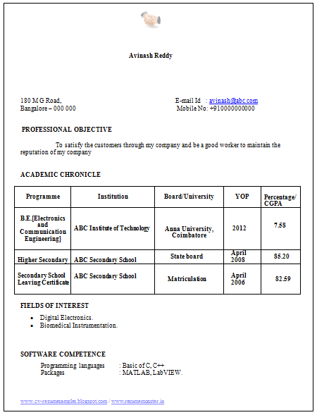 Electronics engineer resume sample for freshers
