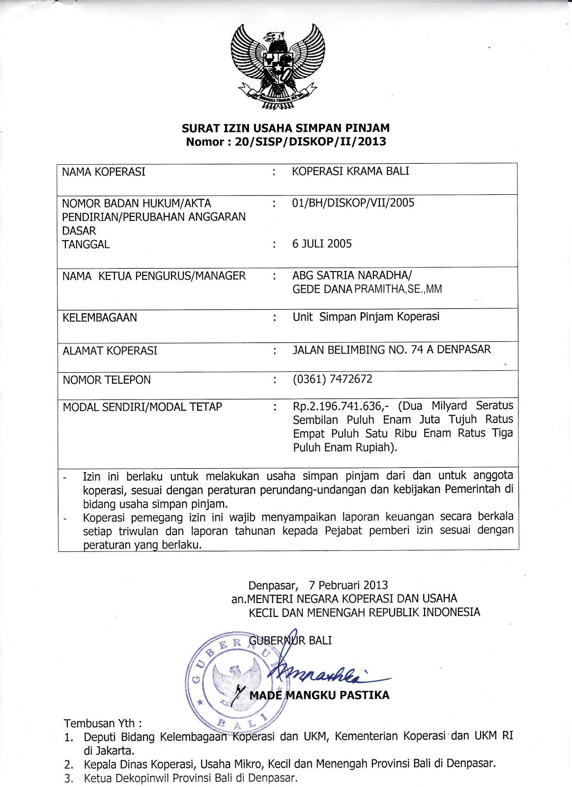 Koperasi Krama Bali Surat Izin Usaha Simpan Pinjam