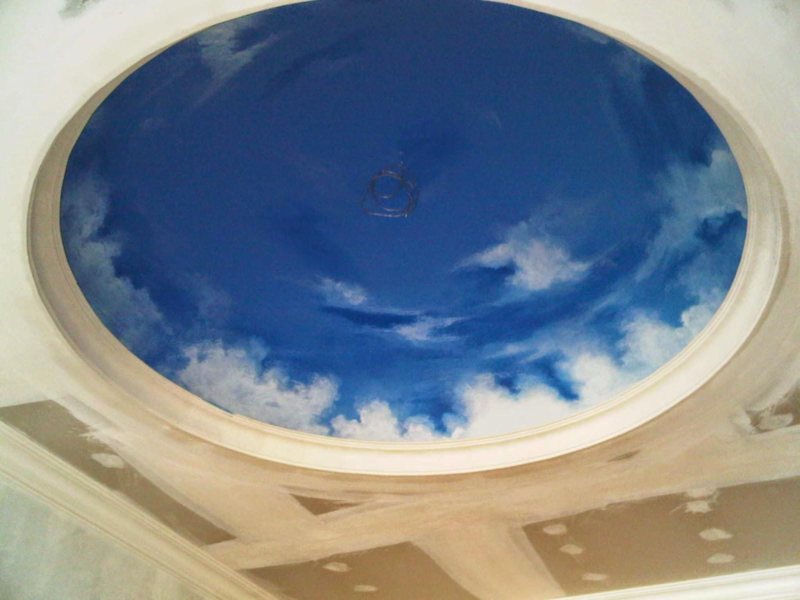 cat plafon motif awan
