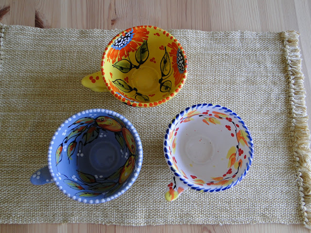 Hand-painted pottery cups, artwork by Sophia Trach, Lviv, West Ukraine