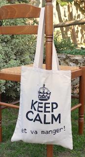 Tote bag Keep calm... et va manger ! coton beige anse 25x35 cm. pochoir peint à la main.