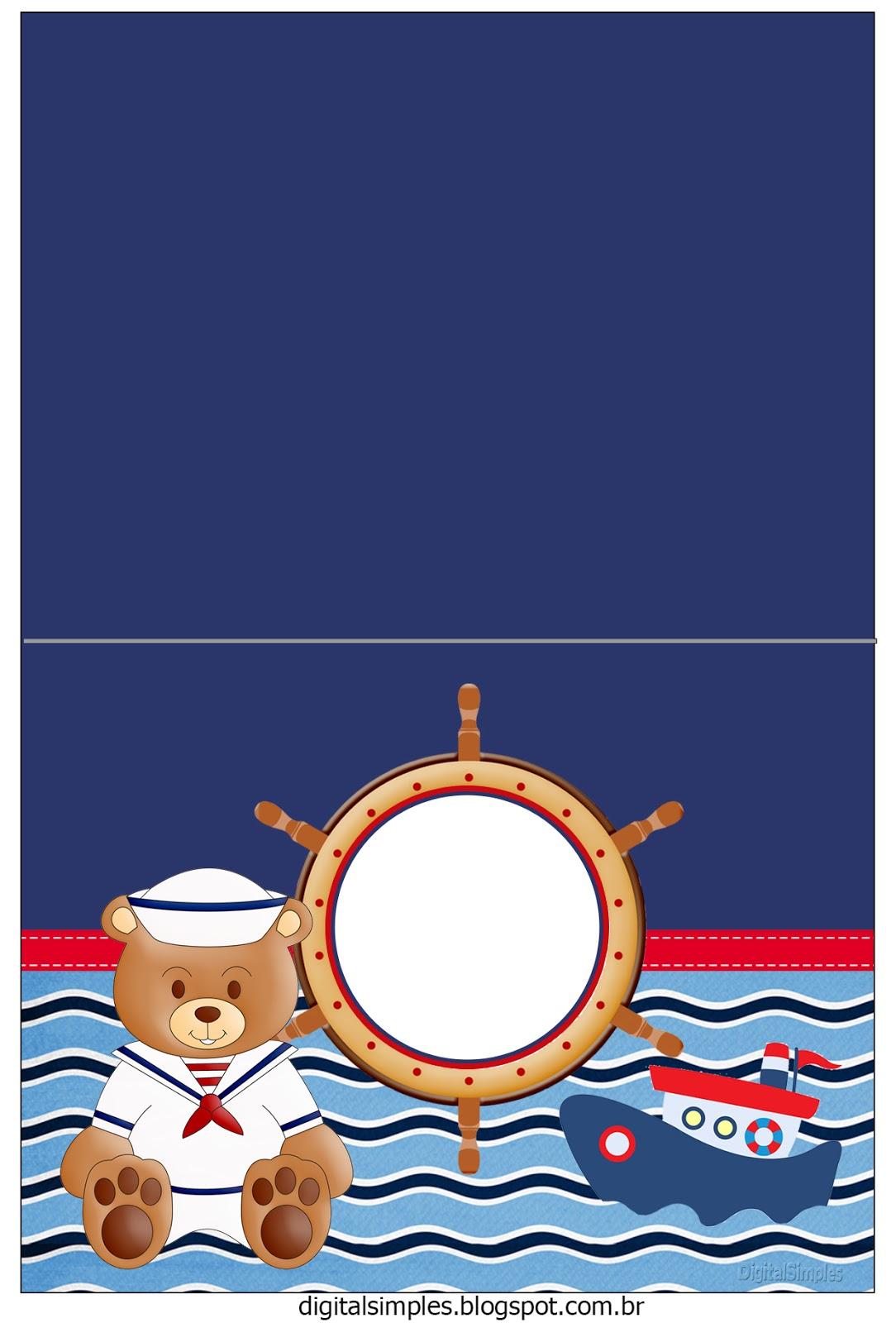 Super Kit Personalizado Ursinho Marinheiro para Imprimir - Convites  LI58