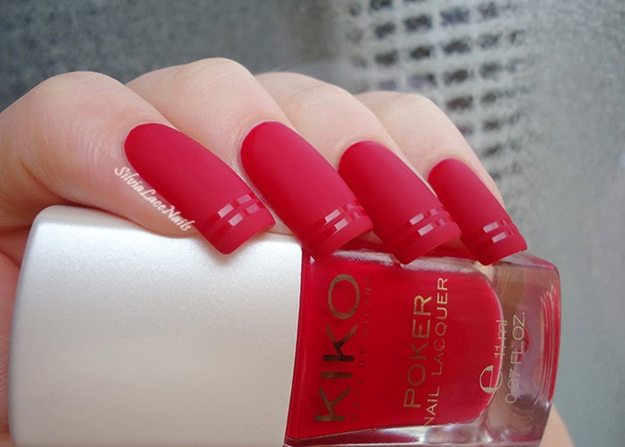 Silvia Lace Nails: Fall matte red nail art: KIKO Poker 03 Suggestive Red