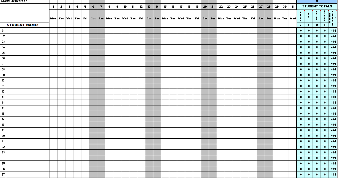 Excellence Inn Computer Institute: Monthly Attendance Sheet