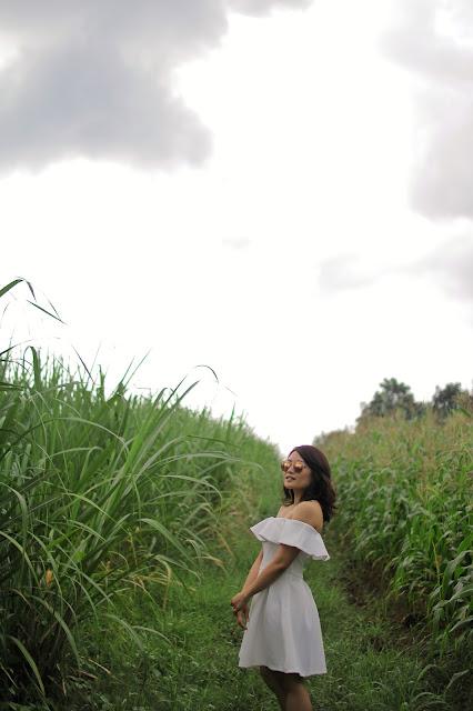 S&H off shoulder white dress, tagaytay, Rayban rose pink