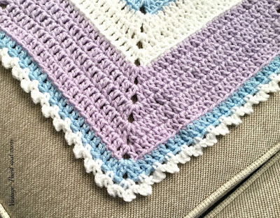 close up of stitching done on Frozen inspired crochet afghan