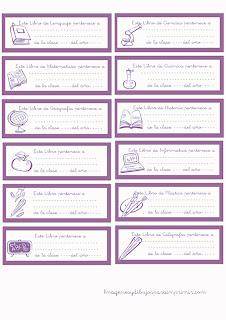 Etiquetas para libros violeta