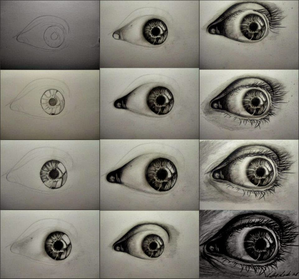 Steps to draw a realistic eye with charcoal - Learn To ...