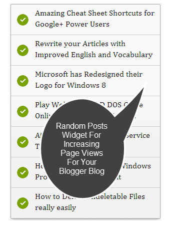 Random Posts Widget In Blogger Blog For Increasing Your Page Views