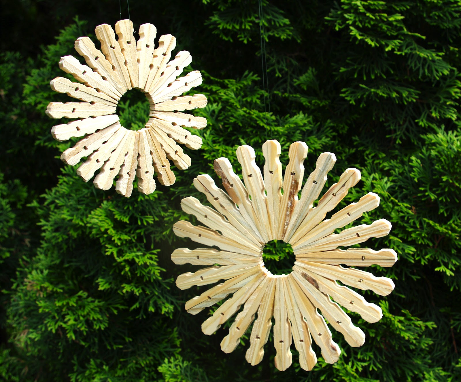 Snow Flakes Made with Wooden Clothes Pins