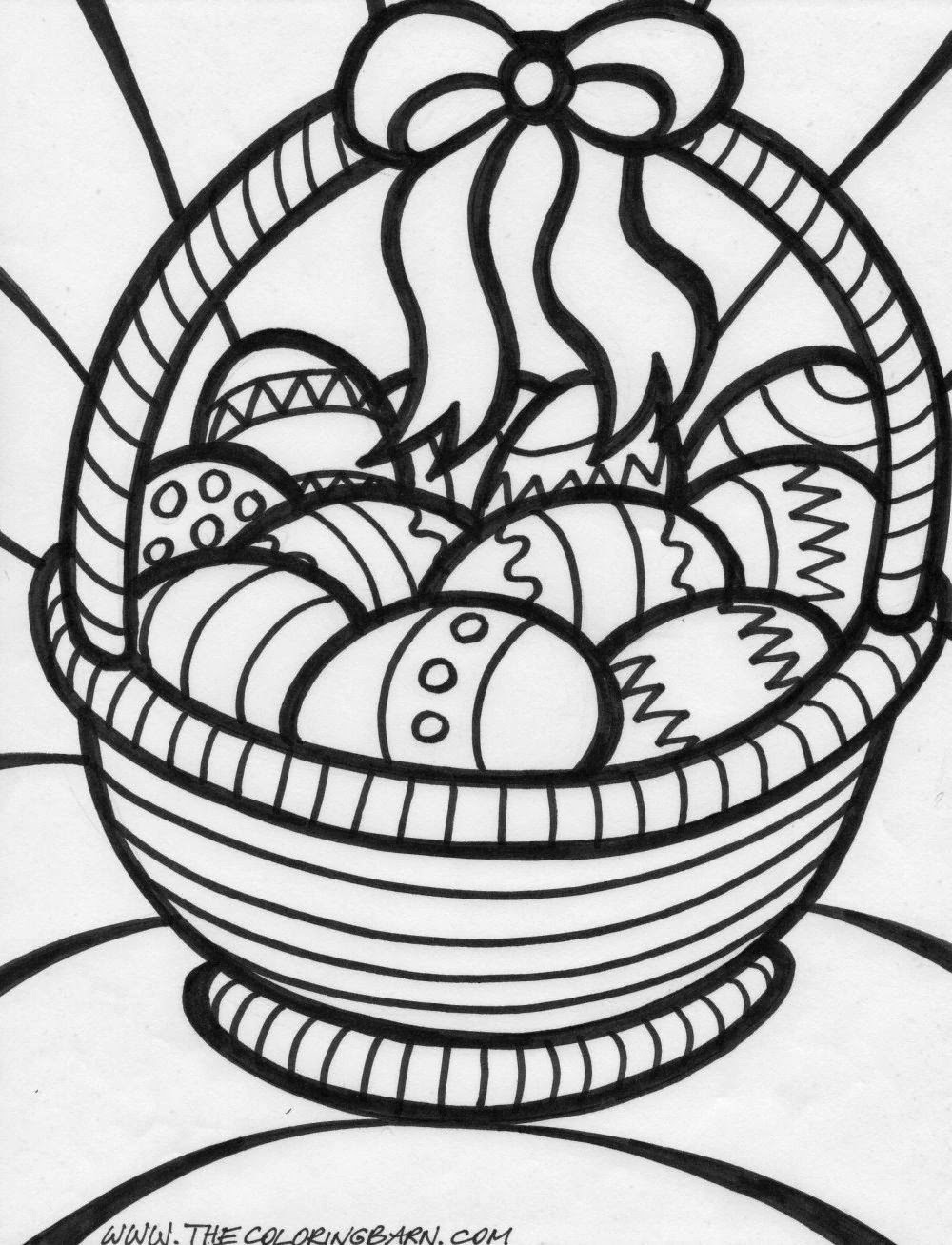 Easter Basket With Eggs Coloring Pages 3
