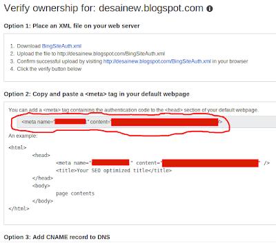 cara verifikasi bing di blogspot