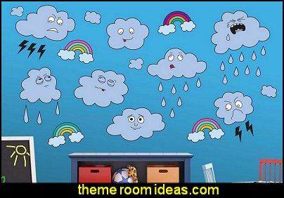 funny clouds Peel and Stick Wall Decals