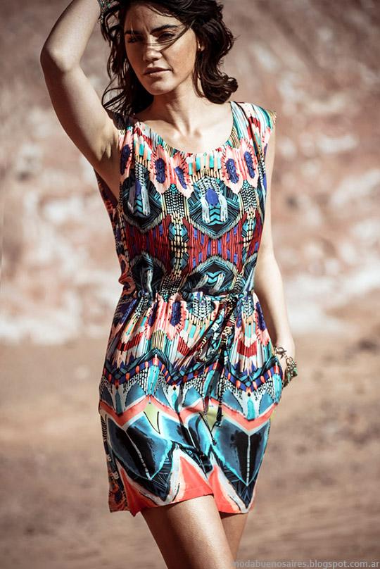 Vestidos cortos estampados Markova colección primavera verano 2015. Moda Argentina primavera verano 2015, vestidos Markova.