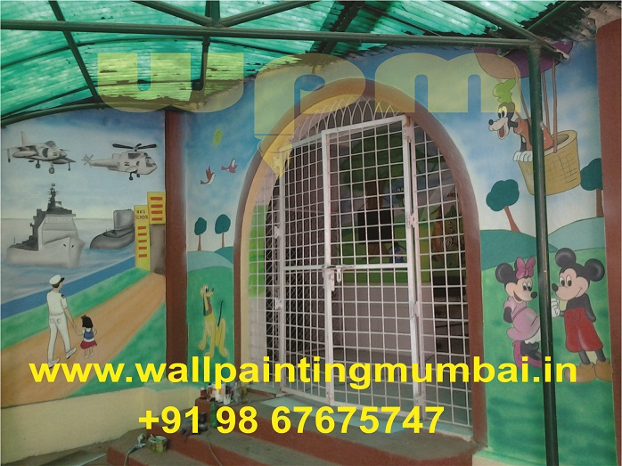 Play school wall painting child room cartoon wall for Room design mahim