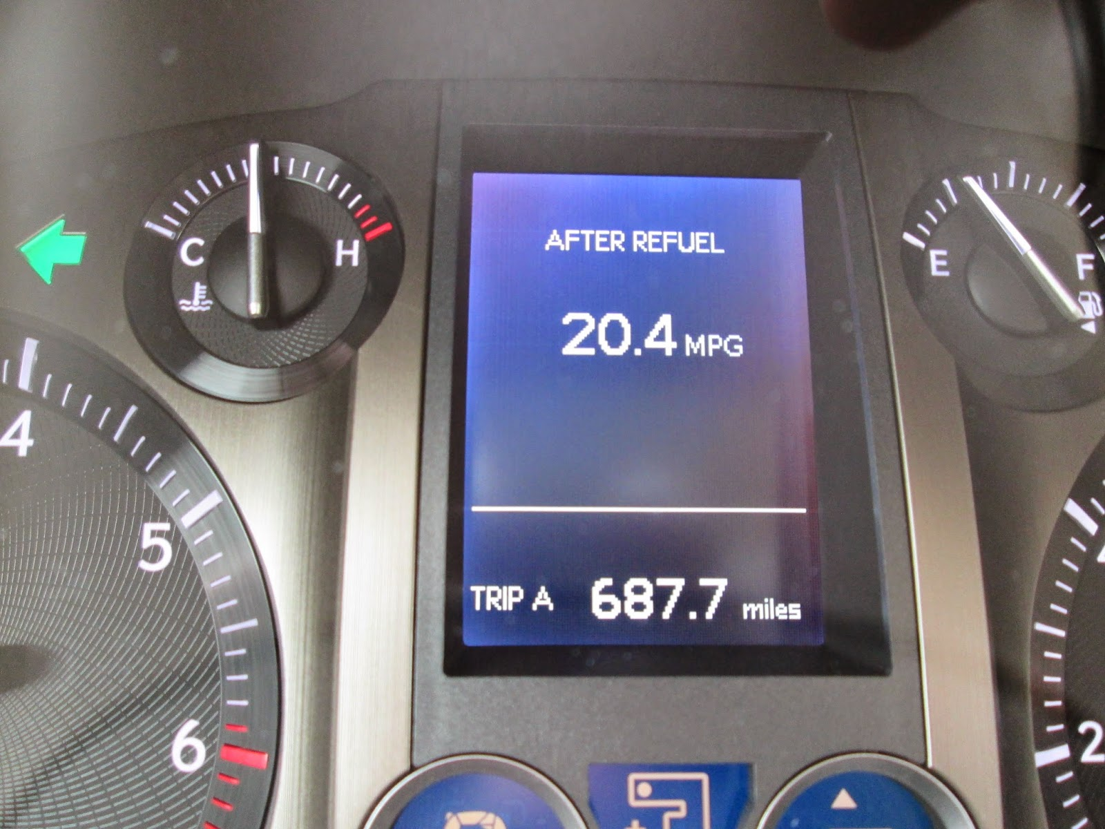 20.4 mpg showing on trip computer