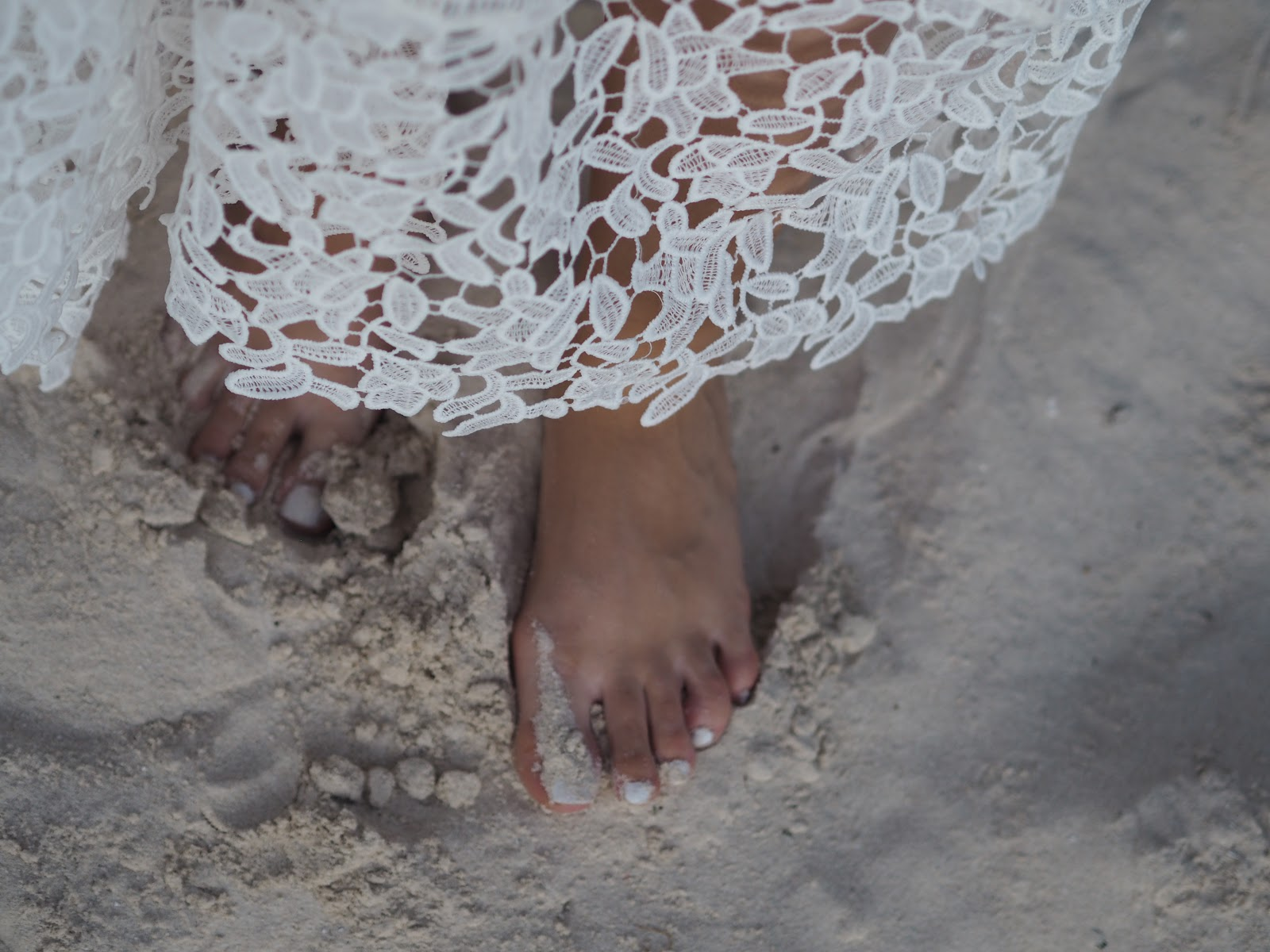 White Dress Sand and Feet