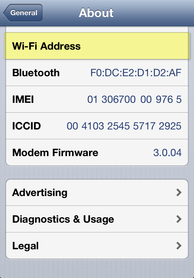 iphone wifi address missing