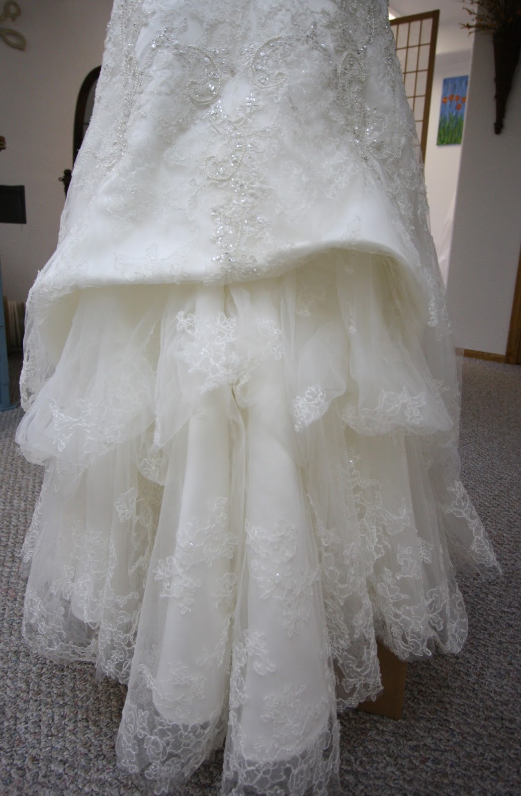 His hers and ours diy wedding gown bustle for Wedding dress train bustle