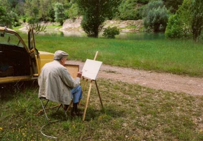 Manuel Tobella pintando