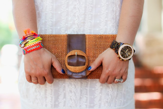 natural fiber clutch and fun colorful hipanima bracelets