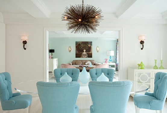 Aesthetic oiseau pastel punch for White and aqua living room