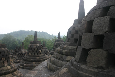 Bell-shaped Borobudur stupas ancient man