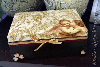 pudełko decoupage w aniołki