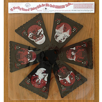 12 side paper lantern features red black original illustrations by Bindlegrim of European tradition Gruss von Krampus imagery
