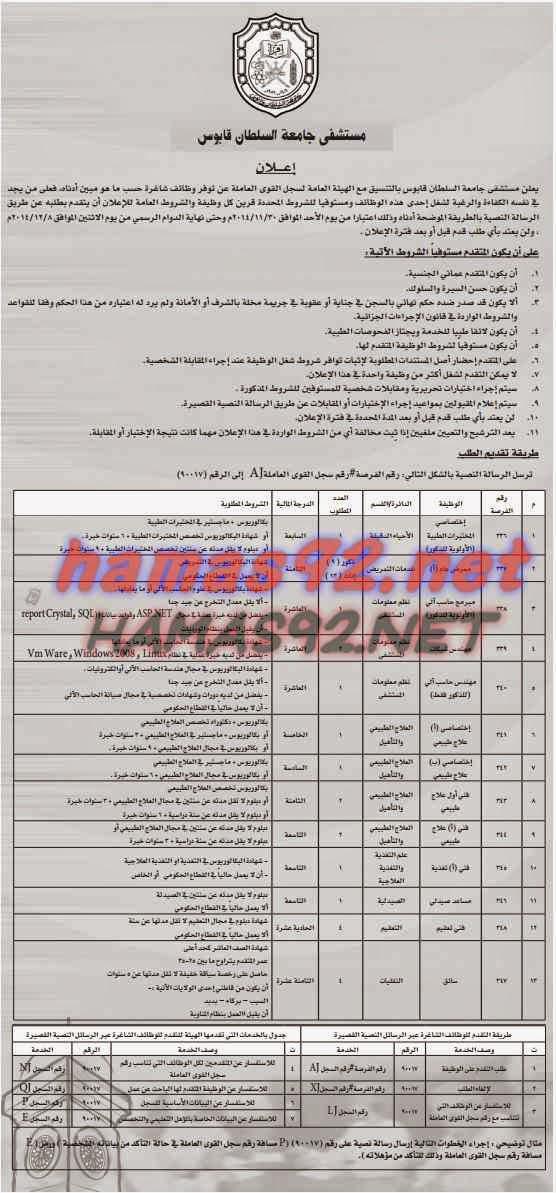 وظائف خالية من جريدة عمان سلطنة عمان الثلاثاء 25-11-2014