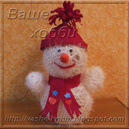 Снеговик из помпона своими руками