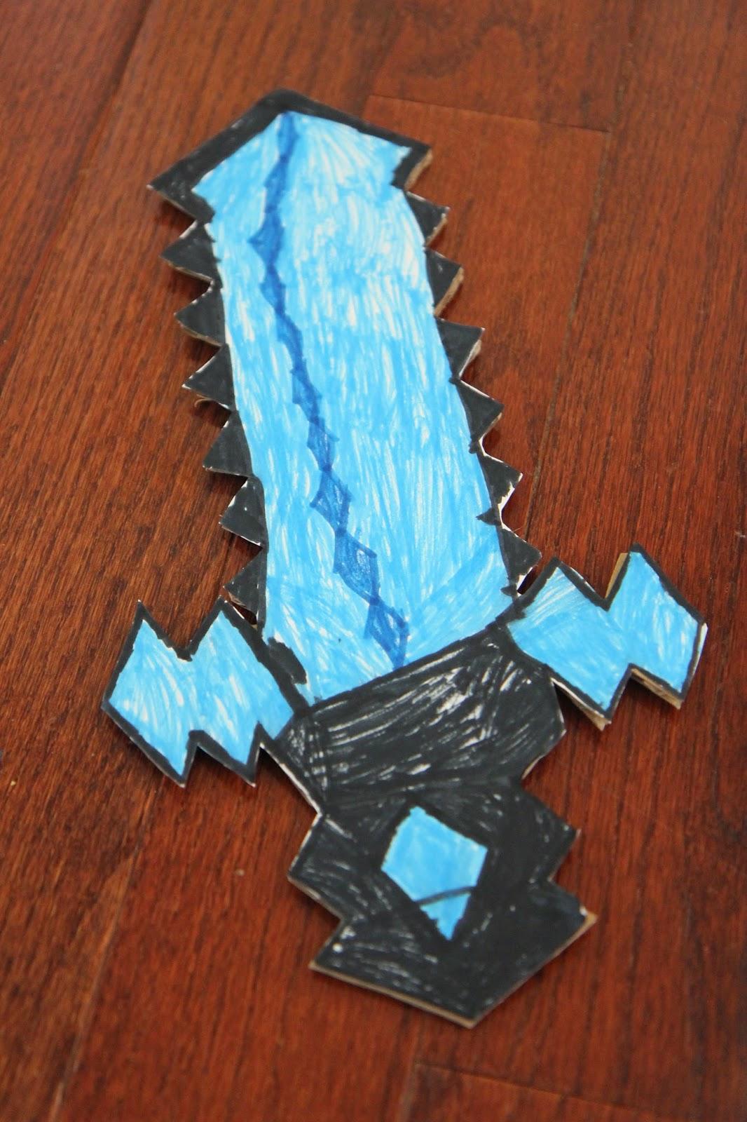 Toddler Approved Diy Cardboard Minecraft Sword Free Printable