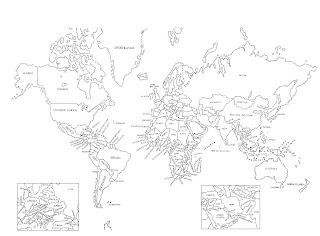 Mapa Planisferio del mundo para colorear