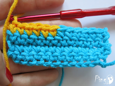 Changing Yarn in Single Crochet - step by step instruction by Pingo