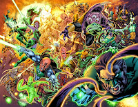 Hal Jordan and the Green Lantern Corps fight the Sinestro Corps.