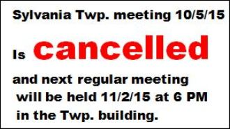 10-5 Sylvania Township Meeting Cancelled