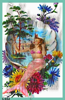 altered mermaid with flowers in sea shell by vintagemermaidsfabricblocks.com