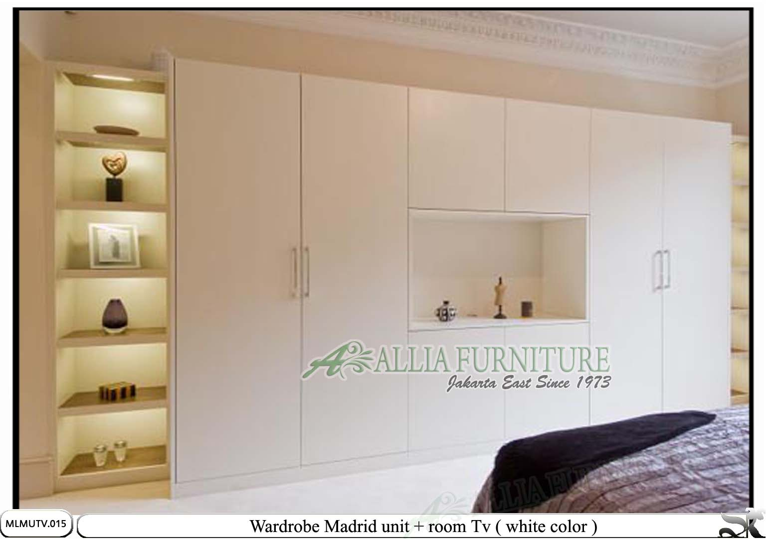 lemari baju minimalis modern tv Madrid - Allia Furniture