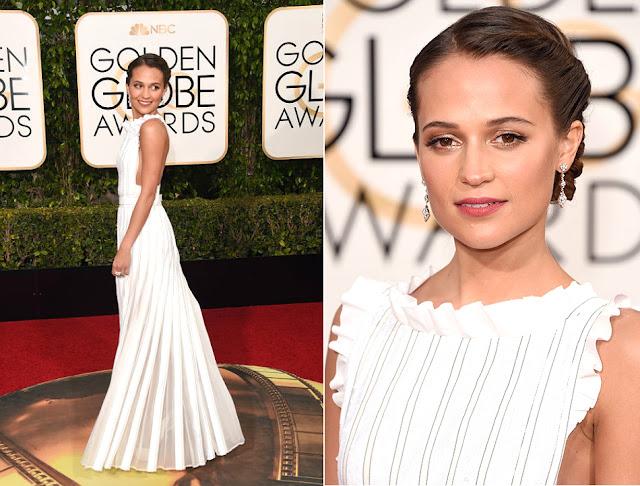 Alicia Vikander in Louis Vuitton - Golden Globe Awards 2016