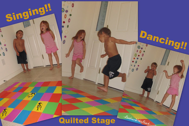 twins, preschool, singing, dancing, quilted stage, colors, shapes, design