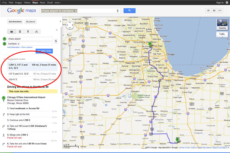 google map showing alternate routes